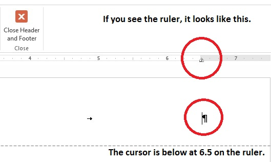 Screen capture of ruler in MS Word showing 6.5