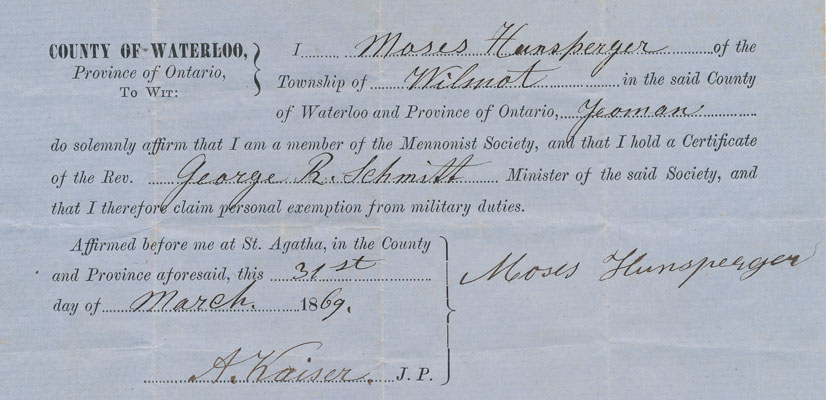 Military exemption certificate for Moses Hunsperger, 1869