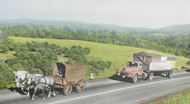 Conestoga wagon recreating the journey of the early Mennonite pioneers.
