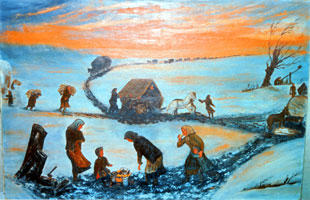 """A painting entitled """"Exodus USSR - 1943"""" by Agatha Schmidt"""