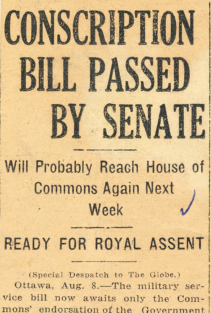 Newspaper headline announces the progress of the Military Services Act of 1917