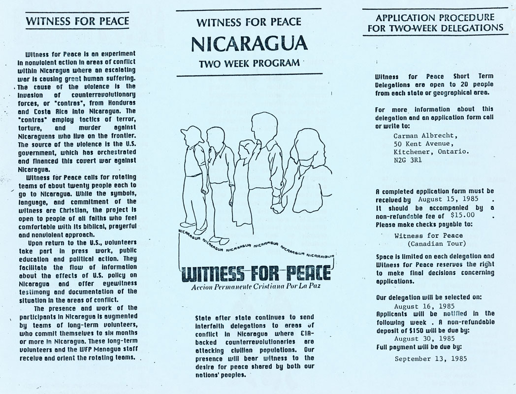Witness for Peace brochure