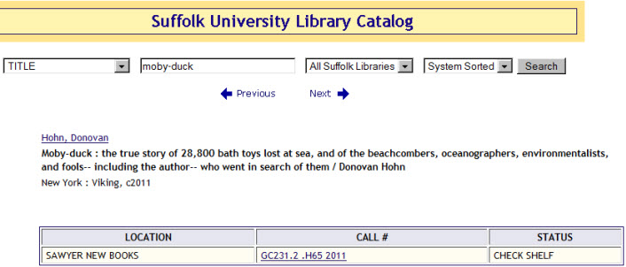 Screenshot of the Library Catalog: Item landing page. Author, title, pukblisher information, date. Location of the book within the library.