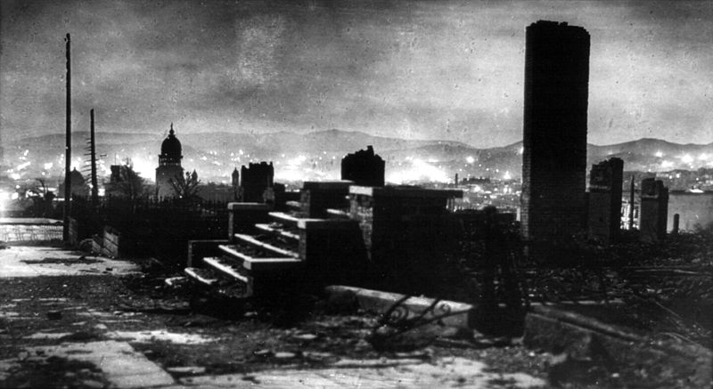 Arnold Genthe's photo of damage from the 1908 SF earthquake