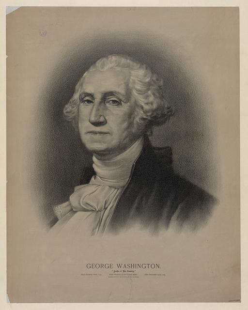 Drawing of a portrait of President George Washington.