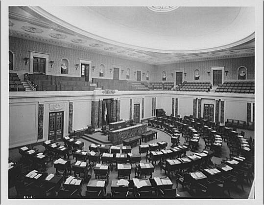 a black and white photo of the interior of the senate chamber