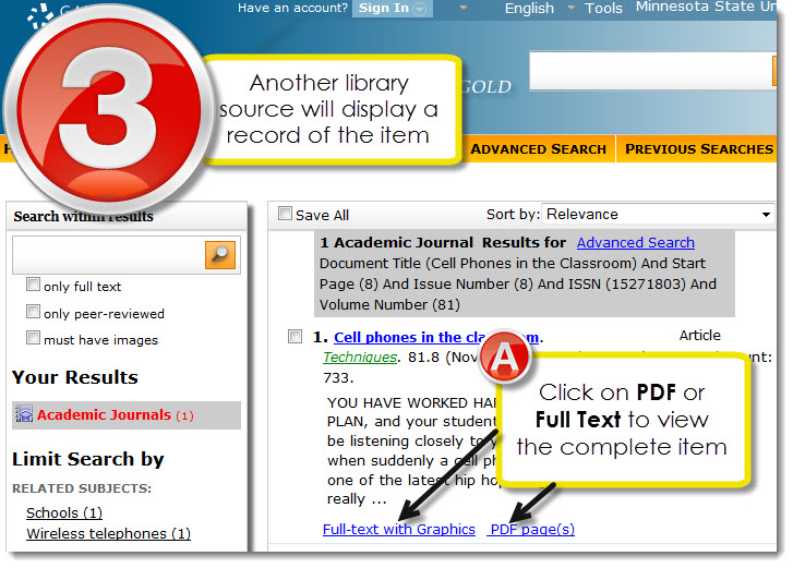 Step three Look for PDF or Full Text to view actual content