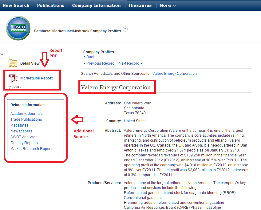 screenshot from Business Source Complete of a Company Profile landing page for Valero Energy Corp