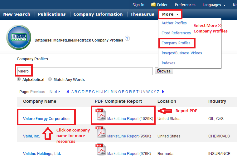 screenshot of Business Source Complete Company Profile search screen