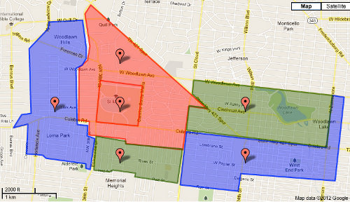 map of areas in the Neighborhood Revitalization project