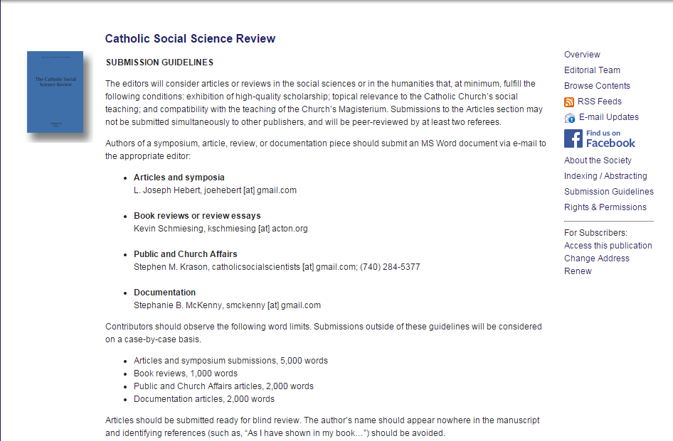 Catholic Social Science Review - Submission Guidelines