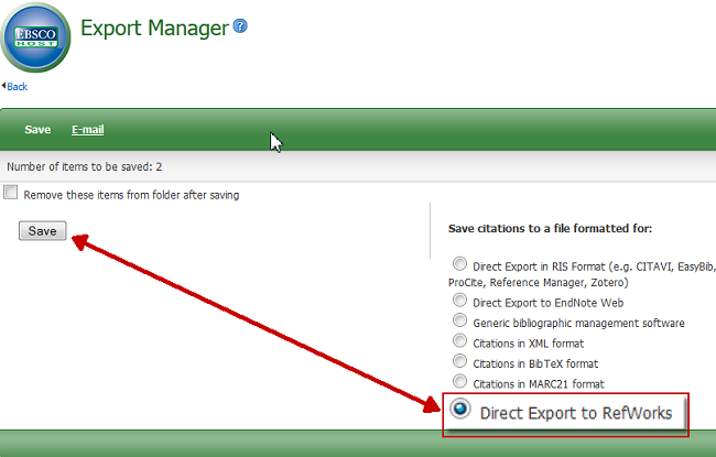 EBSCO Export Manager