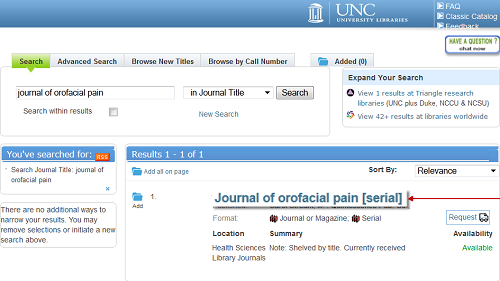 Print Journal Catalog Search