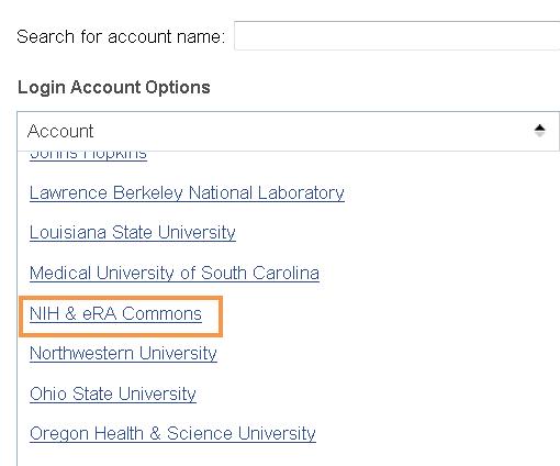 Login Account Options