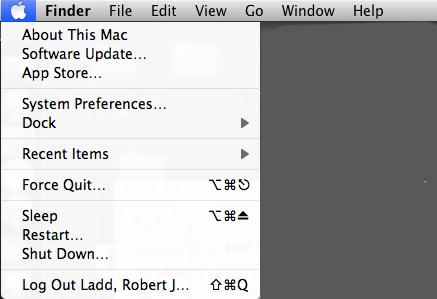 Apple Finder menus