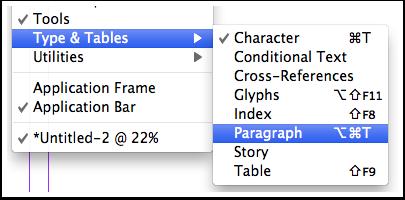 Window Menu -Type & Tables