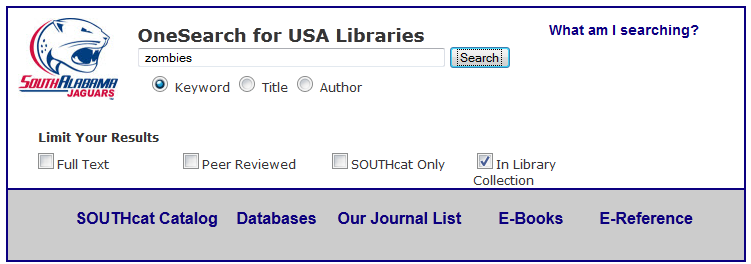 screenshot of a search term in the OneSearch box