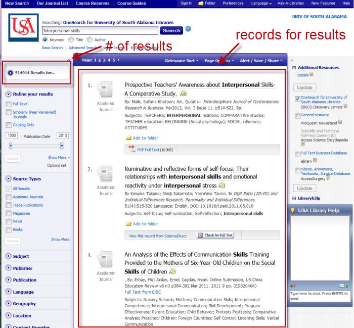 screenshot of OneSearch results screen