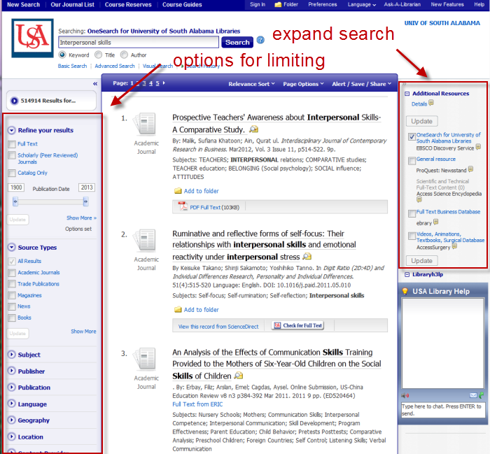 OneSearch results screen with limiters and expanders highlighted