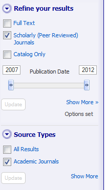 Limiters: date and source type