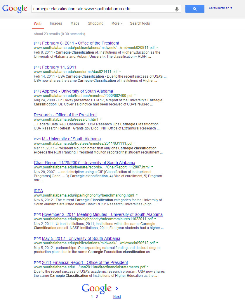 Google results screen from advanced search of USA website