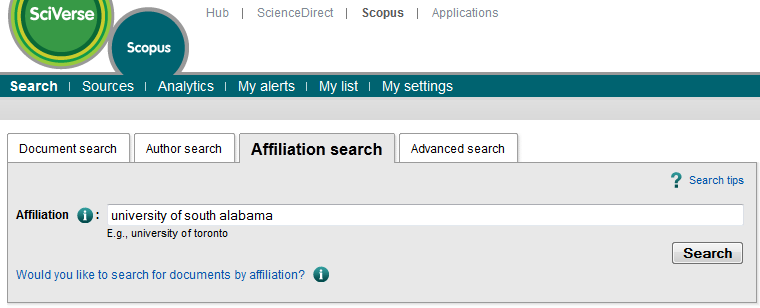 screenshot of the affiliation search screen in Scopus