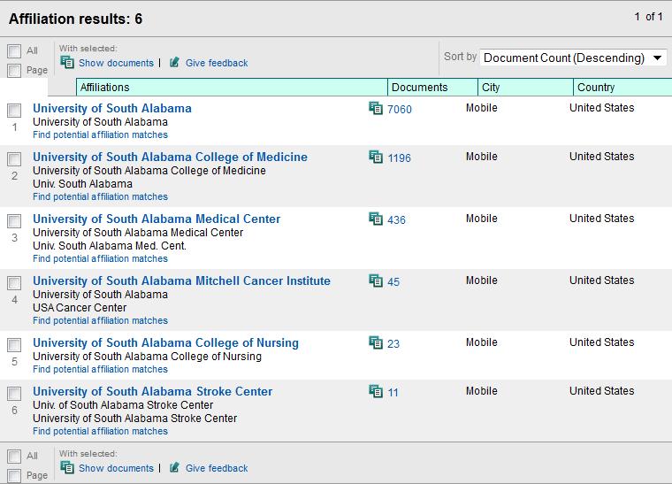screenshot of affiliation results screen
