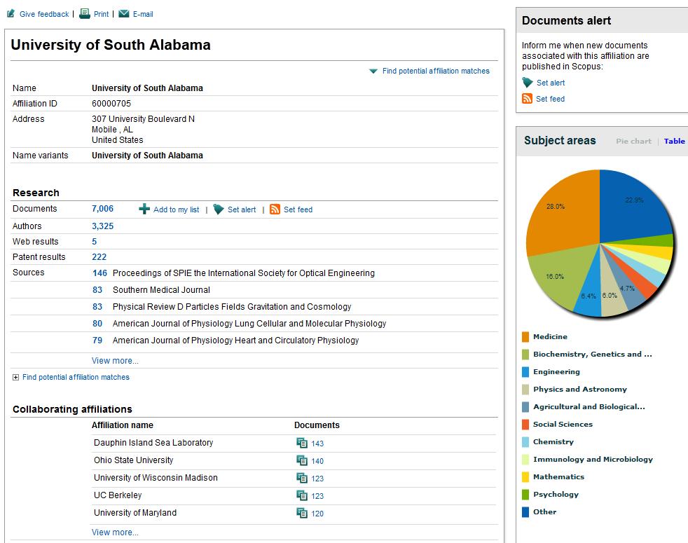 screenshot of affiliation details screen