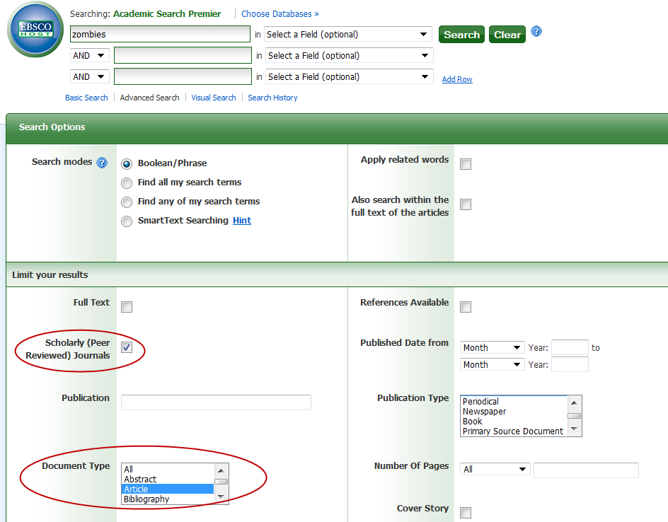 screenshot of Academic Search Complete search screen with Scholarly (Peer-Reviewed) checkbox checked and article selected in the document type menu