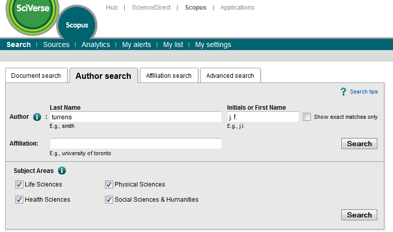 screenshot of Scopus author search screen