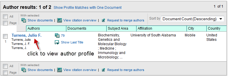 annotated image of Scopus author search results