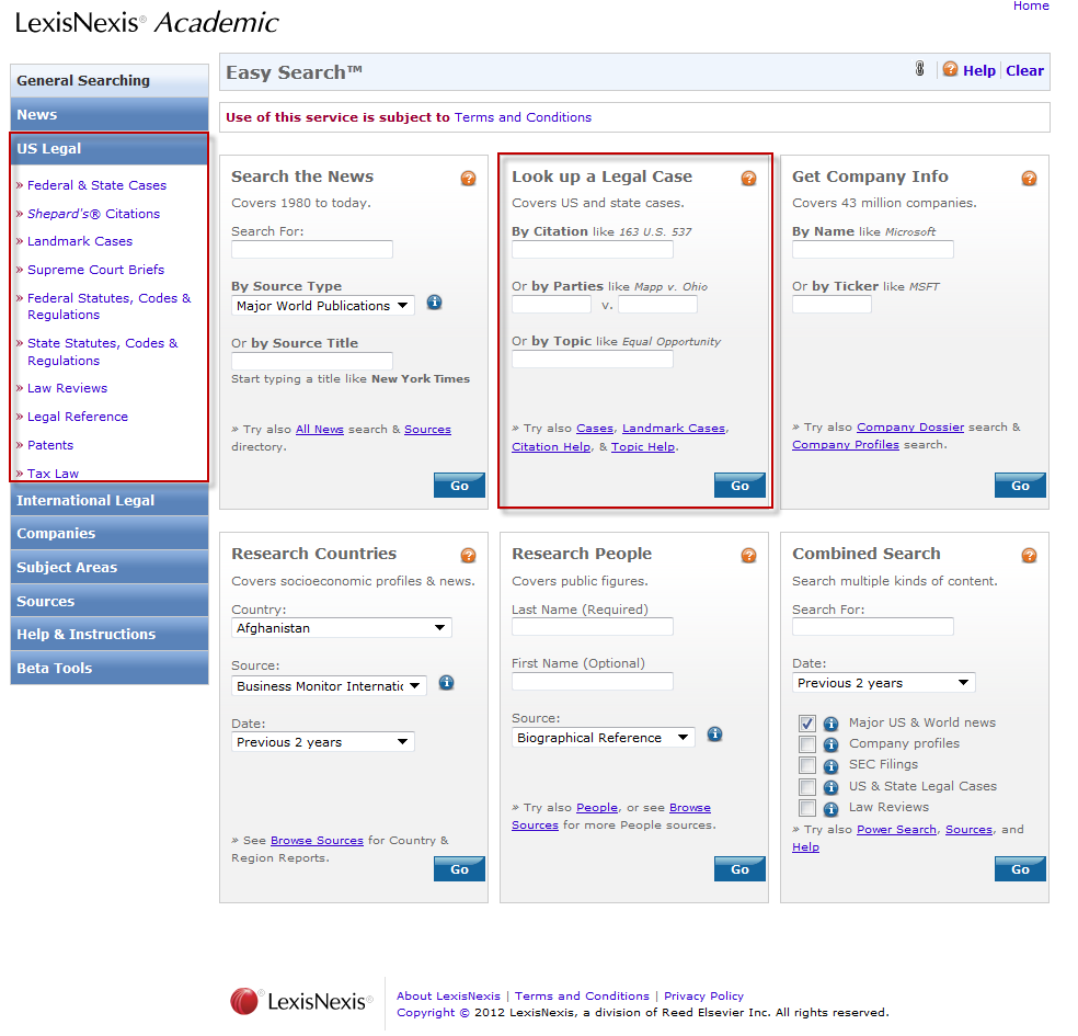 screenshot of LexisNexis Legal search screen