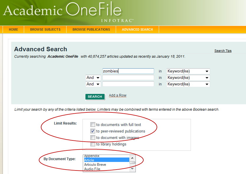 screenshot of Academic OneFile search screen with Peer-Reviewed Publications checkbox checked and document type article selected
