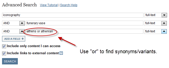 search showing the use of OR to find synonyms/related terms