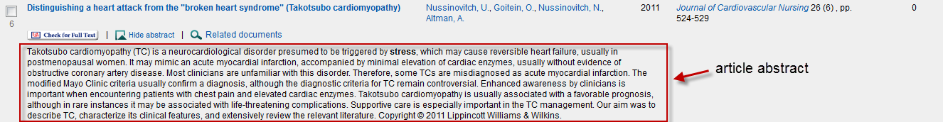 annotated image of an article abstract in Scopus