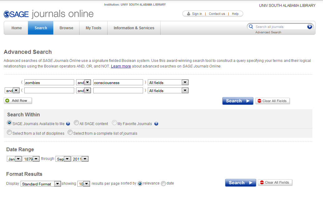 Screenshot of Sage Journals Online advanced search interface