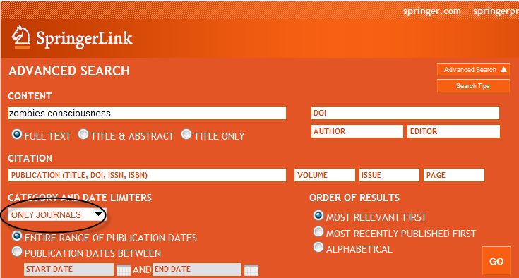 screenshot of SpringerLink advanced search interface with limit to journal search only