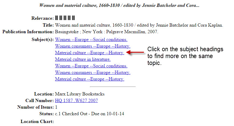 screenshot of a catalog record highlighting the subject headings field
