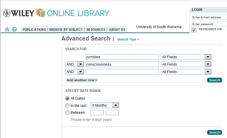 screenshot of Wiley Online Library advanced search interface