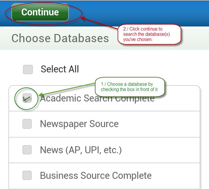 EBSCO mobile database screen