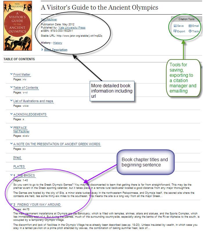 JSTOR Book Information Screen