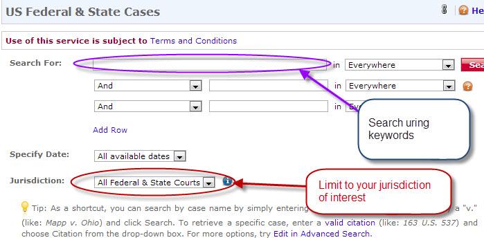 Lexis Jurisdiction limiting