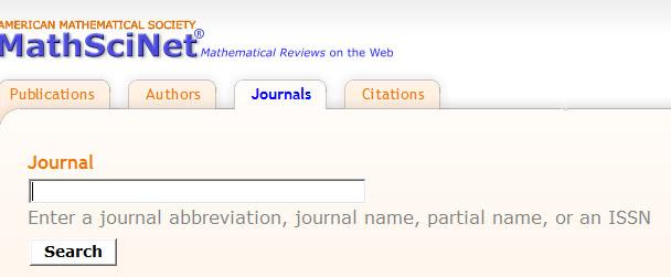 MathSciNet Journal Search Screen
