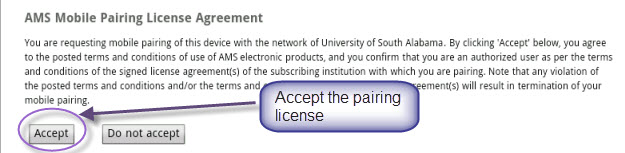 MathSciNet Mobile Pairing License