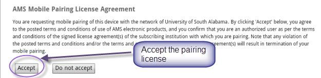 MathSciNet Mobile Pairing License