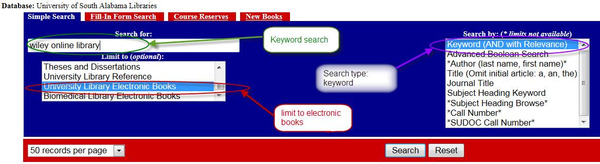 Wiley ebooks through SOUTHcat