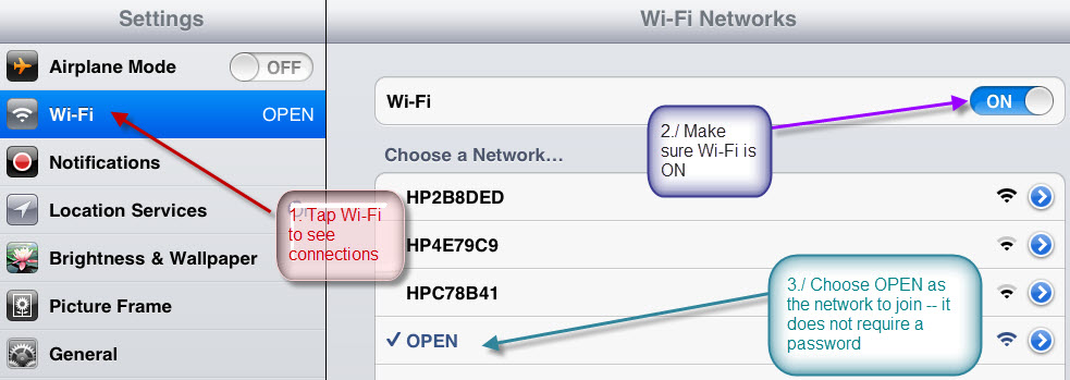 Wireless setup for iPad