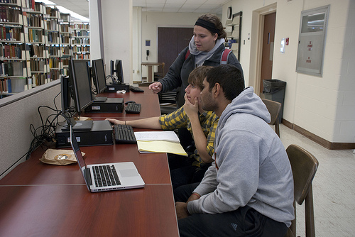 High school students engage with the Kent State library