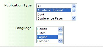 select 'Academic article' and 'English'