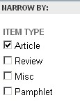 JSTOR image of checkboxes allowing you to choose a journal article, or review.